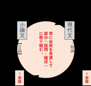 現代文と小論文の同時並行演習の概念図です。
